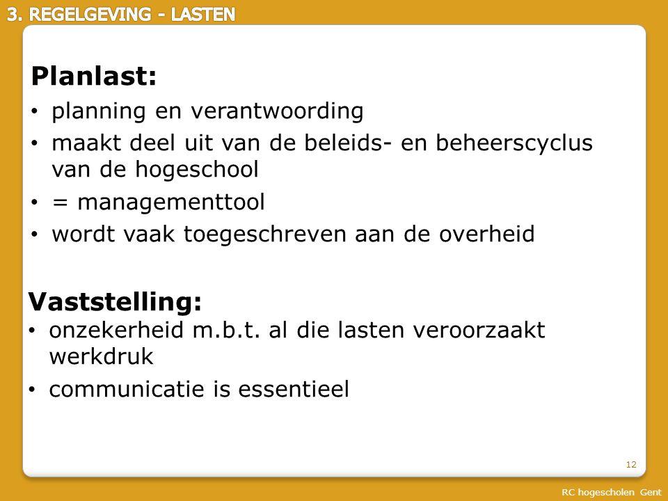 RC hogescholen Gent Planlast: planning en verantwoording maakt deel uit van de beleids- en beheerscyclus van de hogeschool = managementtool wordt vaak toegeschreven aan de overheid 12 Vaststelling: onzekerheid m.b.t.