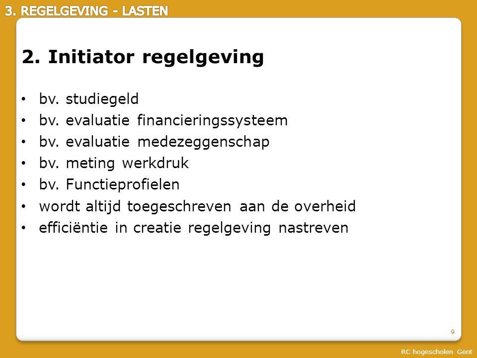 RC hogescholen Gent 20 Beleidsruimte wordt bepaald door regelgeving Regelgeving = complex geheel Lasten = complex geheel Regelgeving in toom houden (alle actoren) Pseudoregelgeving in toom houden Lasten in toom houden Samenvattend: