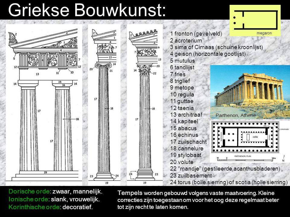 Griekse Bouwkunst: Dorische orde: zwaar, mannelijk.