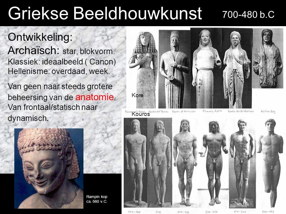 Griekse Beeldhouwkunst Ontwikkeling: Archaïsch: star, blokvorm.
