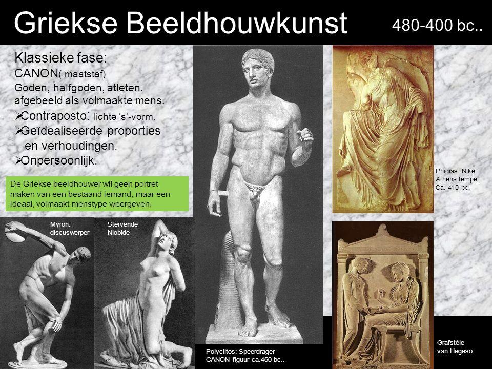 Griekse Beeldhouwkunst Klassieke fase: CANON ( maatstaf) Goden, halfgoden, atleten.