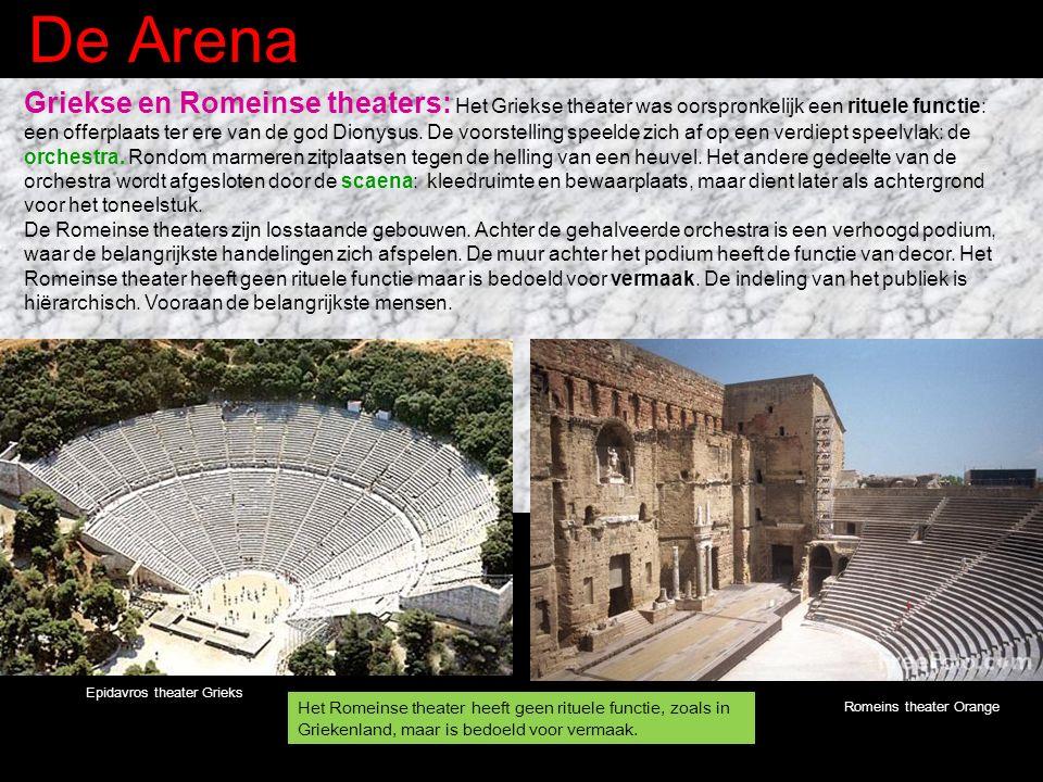 De Arena Griekse en Romeinse theaters: Het Griekse theater was oorspronkelijk een rituele functie: een offerplaats ter ere van de god Dionysus.