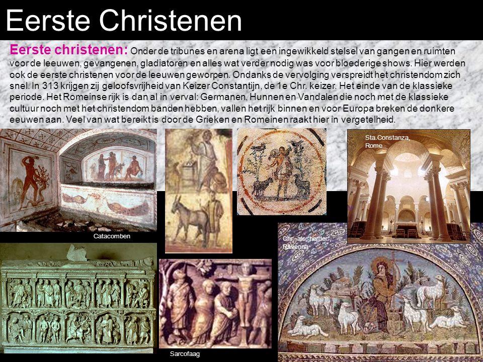 Eerste Christenen Eerste christenen: Onder de tribunes en arena ligt een ingewikkeld stelsel van gangen en ruimten voor de leeuwen, gevangenen, gladiatoren en alles wat verder nodig was voor bloederige shows.
