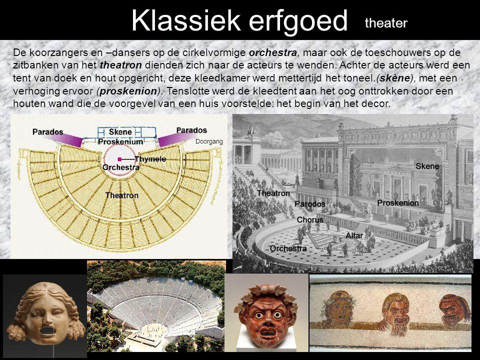 Klassiek erfgoed Grieks theater: Het Griekse theater stelt aan het publiek een voorbeeld.