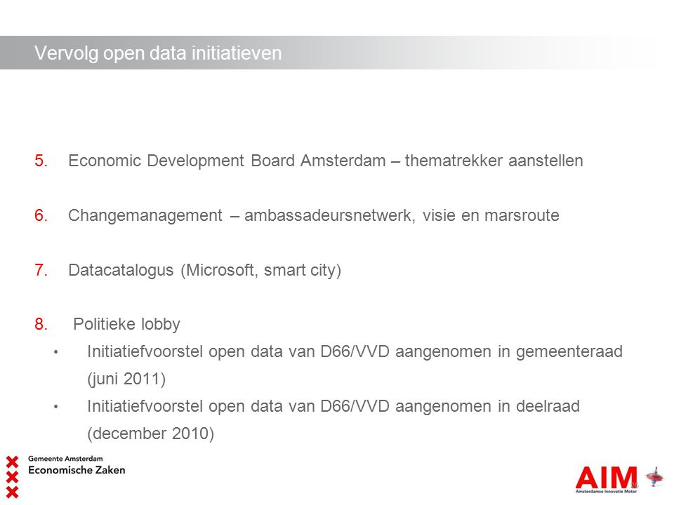 Vervolg open data initiatieven 5.Economic Development Board Amsterdam – thematrekker aanstellen 6.Changemanagement – ambassadeursnetwerk, visie en mar