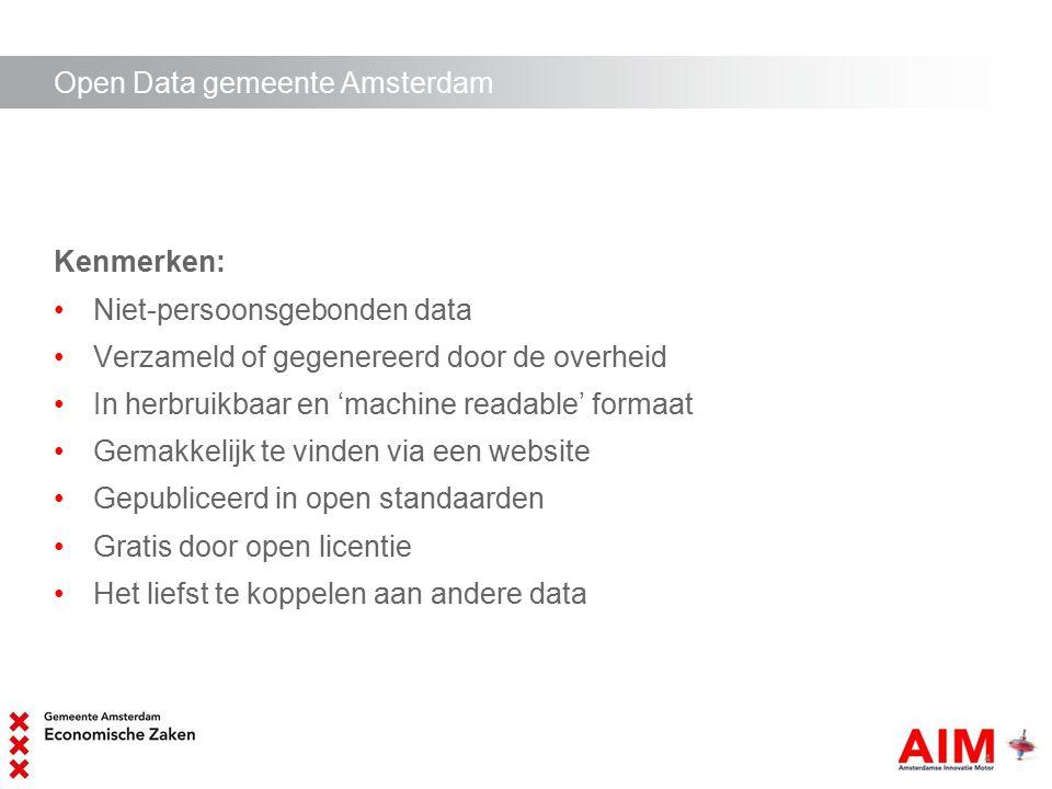 Open data initiatieven in Amsterdam 1.Apps for Amsterdam 2.ICE Amsterdam, internationale conferentie op het gebied van mobiele strategieën en app-ontwikkeling (mobile government) Consulting clinics voor ambtenaren, in gesprek met ontwikkelaars en andere marktpartijen over behoeften markt en overheid.