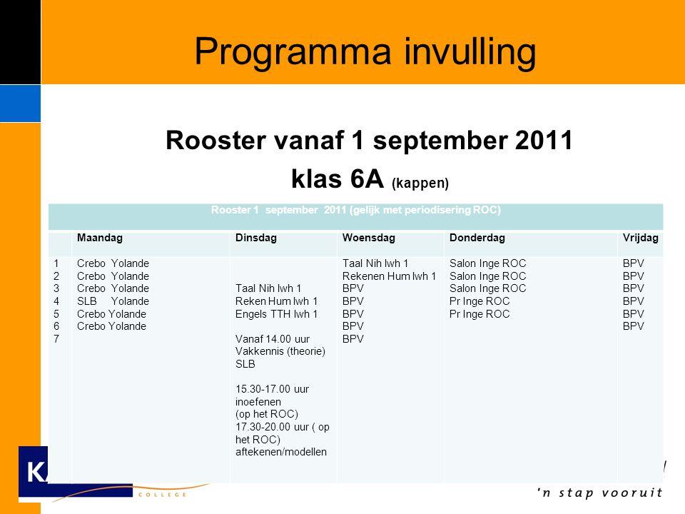 Programma invulling Rooster vanaf 1 september 2011 klas 6A (kappen) Rooster 1 september 2011 (gelijk met periodisering ROC) MaandagDinsdagWoensdagDonderdagVrijdag 12345671234567 Crebo Yolande SLB Yolande Crebo Yolande Taal Nih lwh 1 Reken Hum lwh 1 Engels TTH lwh 1 Vanaf 14.00 uur Vakkennis (theorie) SLB 15.30-17.00 uur inoefenen (op het ROC) 17.30-20.00 uur ( op het ROC) aftekenen/modellen Taal Nih lwh 1 Rekenen Hum lwh 1 BPV BPV Salon Inge ROC Pr Inge ROC BPV