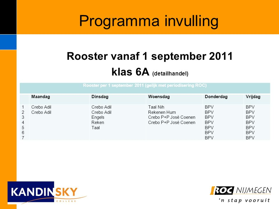 Programma invulling Rooster vanaf 1 september 2011 klas 6A (detailhandel) Rooster per 1 september 2011 (gelijk met periodisering ROC) MaandagDinsdagWoensdagDonderdagVrijdag 12345671234567 Crebo Adil Engels Reken Taal Taal Nih Rekenen Hum Crebo P+P José Coenen Crebo P+P José Coenen BPV