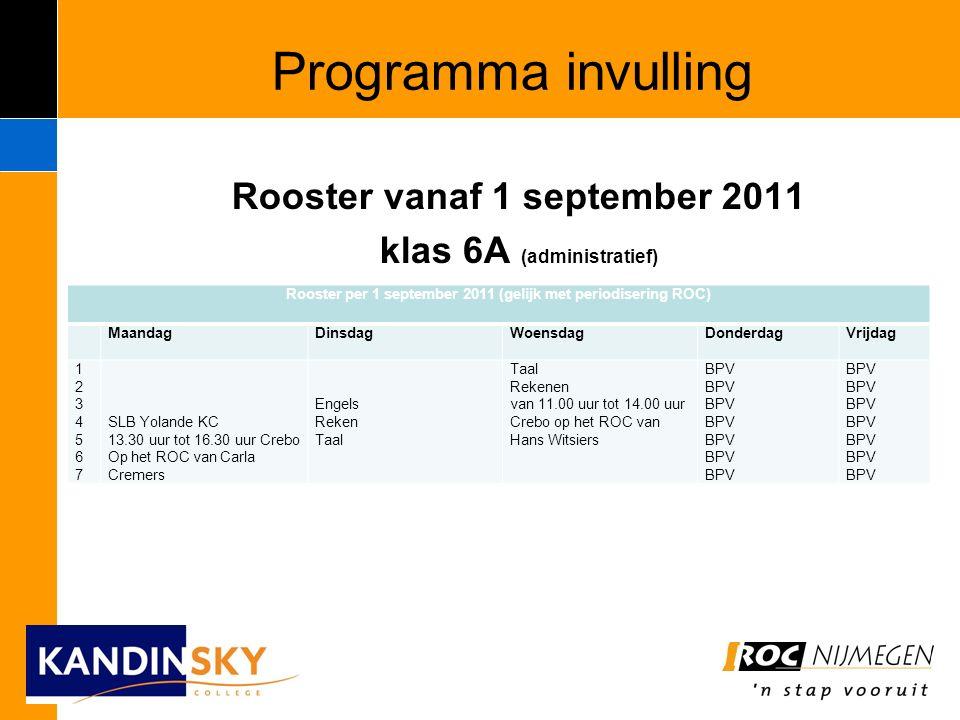Programma invulling Rooster vanaf 1 september 2011 klas 6A (administratief) Rooster per 1 september 2011 (gelijk met periodisering ROC) MaandagDinsdagWoensdagDonderdagVrijdag 12345671234567 SLB Yolande KC 13.30 uur tot 16.30 uur Crebo Op het ROC van Carla Cremers Engels Reken Taal Rekenen van 11.00 uur tot 14.00 uur Crebo op het ROC van Hans Witsiers BPV