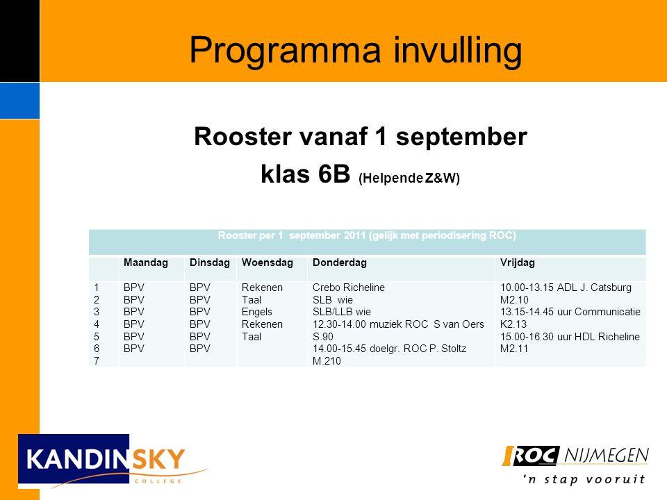 Programma invulling Rooster vanaf 1 september klas 6B (Helpende Z&W) Rooster per 1 september 2011 (gelijk met periodisering ROC) MaandagDinsdagWoensdagDonderdagVrijdag 12345671234567 BPV Rekenen Taal Engels Rekenen Taal Crebo Richeline SLB wie SLB/LLB wie 12.30-14.00 muziek ROC S van Oers S.90 14.00-15.45 doelgr.