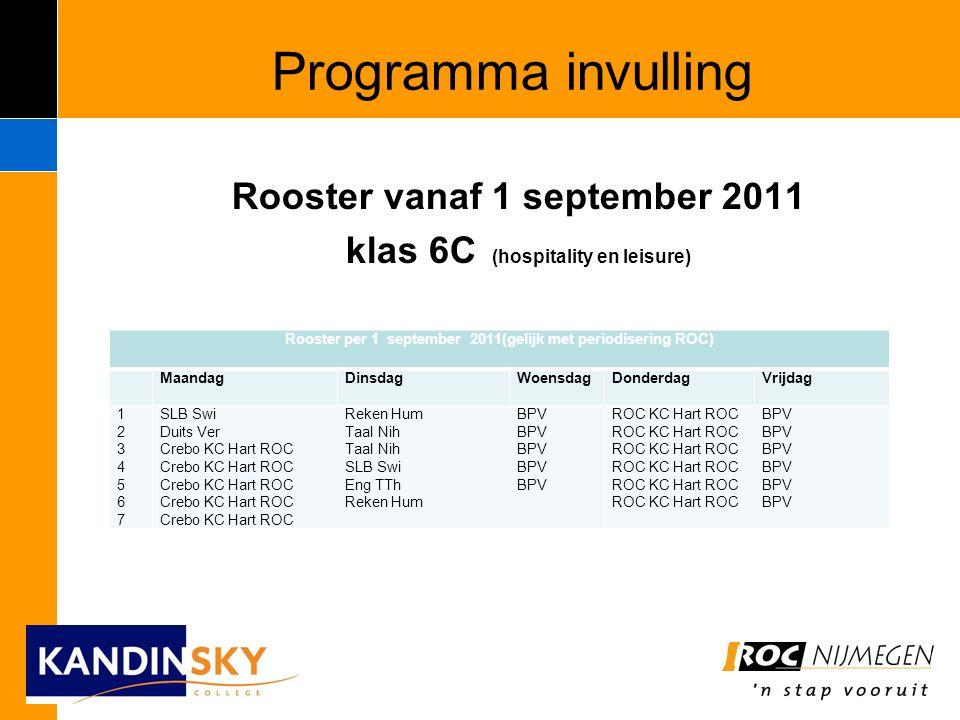 Programma invulling Rooster vanaf 1 september 2011 klas 6C (hospitality en leisure) Rooster per 1 september 2011(gelijk met periodisering ROC) Maandag