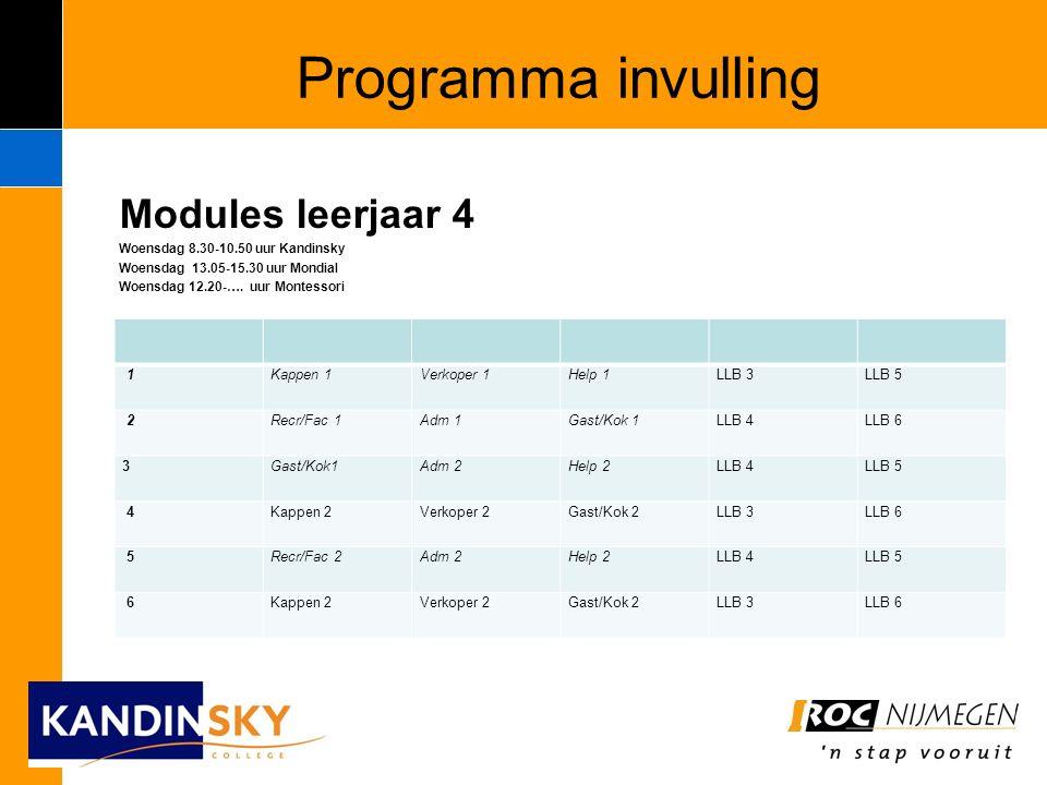 Programma invulling Modules leerjaar 4 Woensdag 8.30-10.50 uur Kandinsky Woensdag 13.05-15.30 uur Mondial Woensdag 12.20-….