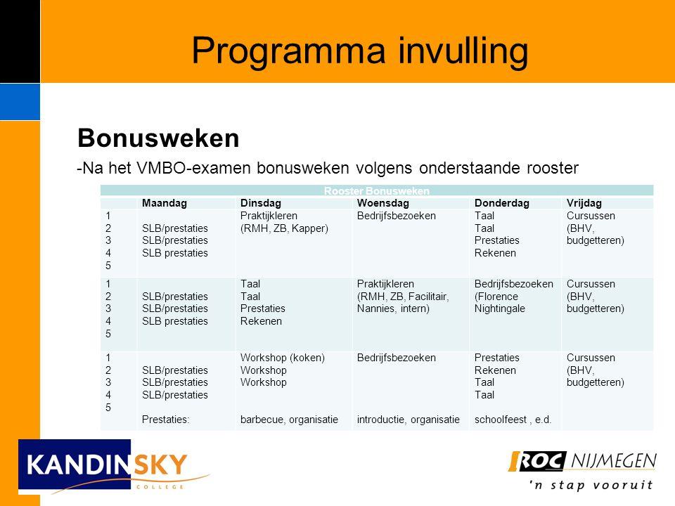 Programma invulling Bonusweken -Na het VMBO-examen bonusweken volgens onderstaande rooster Rooster Bonusweken MaandagDinsdagWoensdagDonderdagVrijdag 1