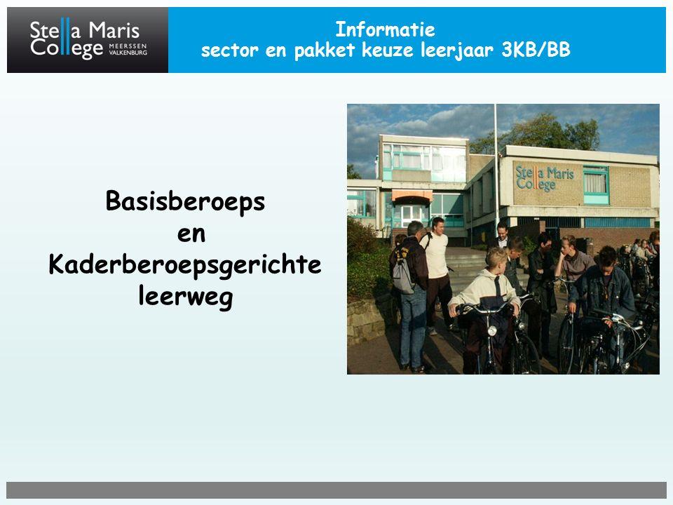 Informatie sector en pakket keuze leerjaar 3KB/BB Basisberoeps en Kaderberoepsgerichte leerweg