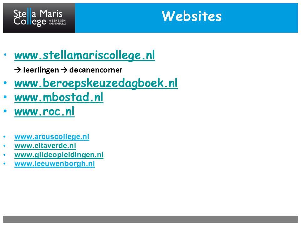 Websites www.stellamariscollege.nl → leerlingen → decanencorner www.beroepskeuzedagboek.nl www.mbostad.nl www.roc.nl www.arcuscollege.nl www.citaverde.nl www.gildeopleidingen.nl www.leeuwenborgh.nl