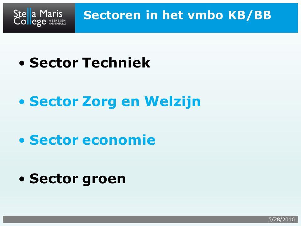 Sectoren in het vmbo KB/BB Sector Techniek Sector Zorg en Welzijn Sector economie Sector groen 5/28/2016