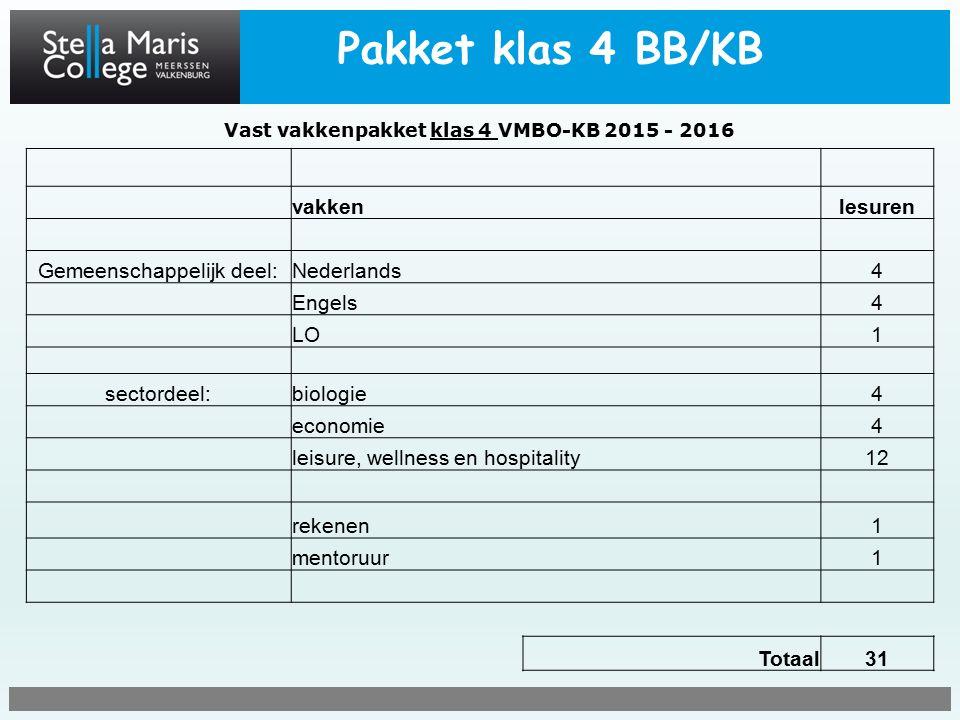 Pakket klas 4 BB/KB Vast vakkenpakket klas 4 VMBO-KB 2015 - 2016 vakkenlesuren Gemeenschappelijk deel:Nederlands4 Engels4 LO1 sectordeel:biologie4 economie4 leisure, wellness en hospitality12 rekenen1 mentoruur1 Totaal31