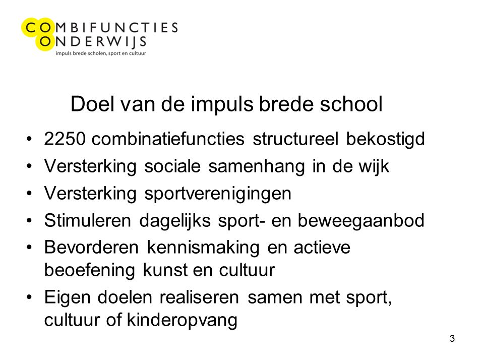 3 Doel van de impuls brede school 2250 combinatiefuncties structureel bekostigd Versterking sociale samenhang in de wijk Versterking sportverenigingen