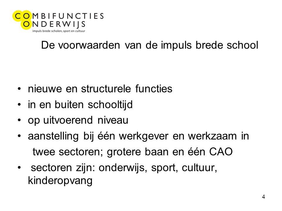 4 De voorwaarden van de impuls brede school nieuwe en structurele functies in en buiten schooltijd op uitvoerend niveau aanstelling bij één werkgever