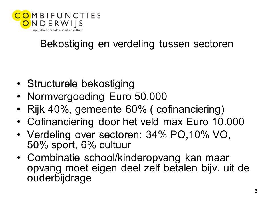5 Bekostiging en verdeling tussen sectoren Structurele bekostiging Normvergoeding Euro 50.000 Rijk 40%, gemeente 60% ( cofinanciering) Cofinanciering