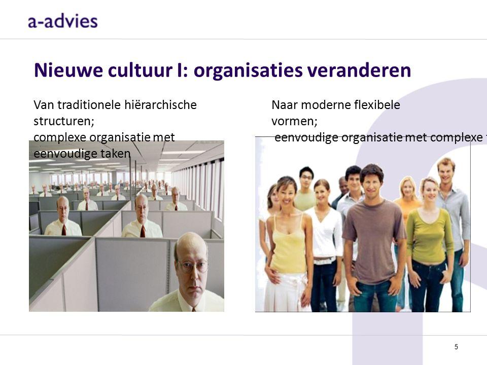 Nieuwe cultuur I: organisaties veranderen Van traditionele hiërarchische structuren; complexe organisatie met eenvoudige taken Naar moderne flexibele