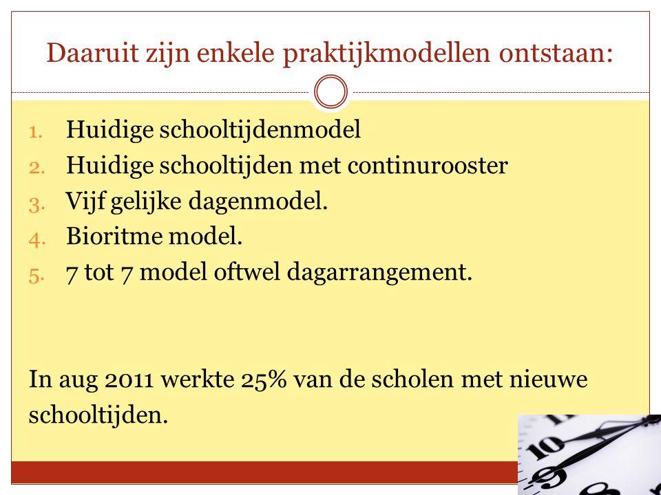 Daaruit zijn enkele praktijkmodellen ontstaan: 1. Huidige schooltijdenmodel 2.