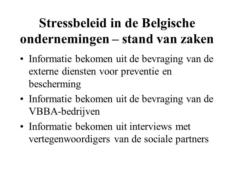 Stressbeleid in de Belgische ondernemingen – stand van zaken Informatie bekomen uit de bevraging van de externe diensten voor preventie en bescherming