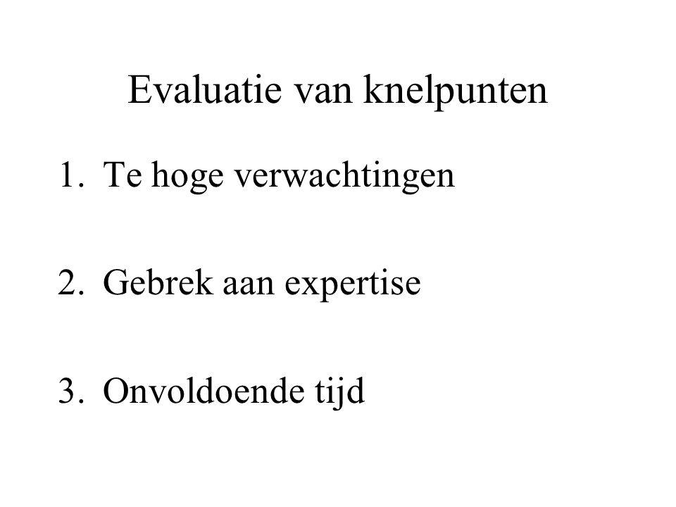 Evaluatie van knelpunten 1.Te hoge verwachtingen 2.Gebrek aan expertise 3.Onvoldoende tijd