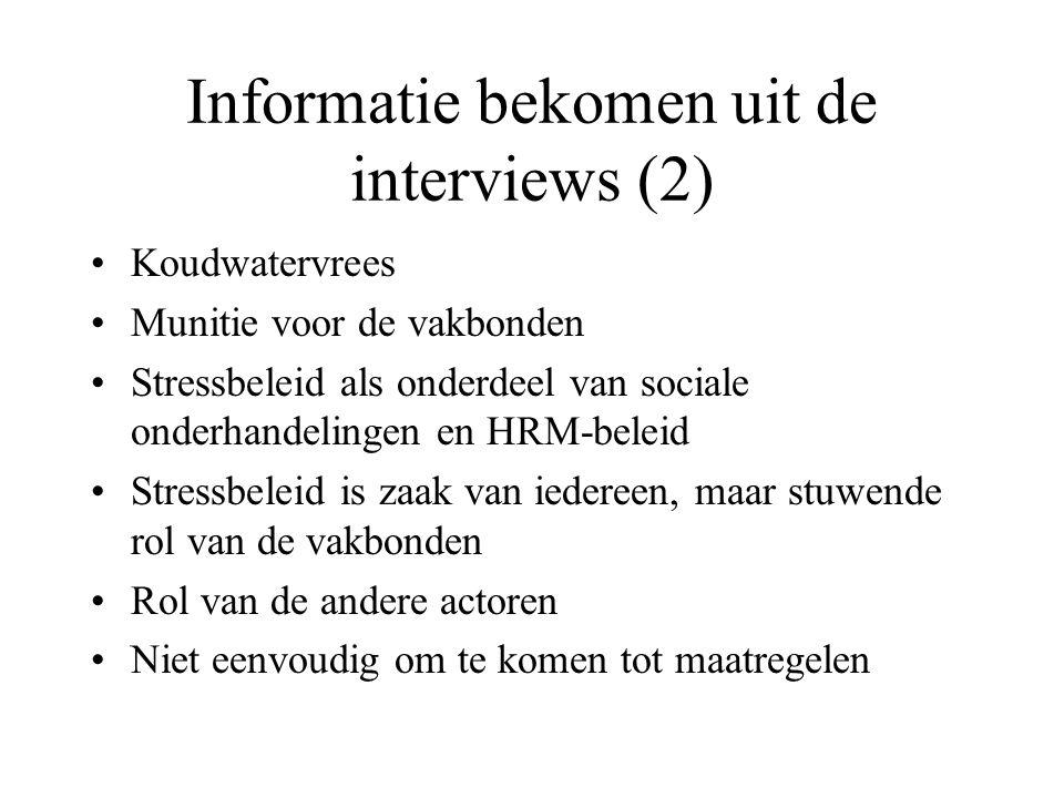 Informatie bekomen uit de interviews (2) Koudwatervrees Munitie voor de vakbonden Stressbeleid als onderdeel van sociale onderhandelingen en HRM-belei