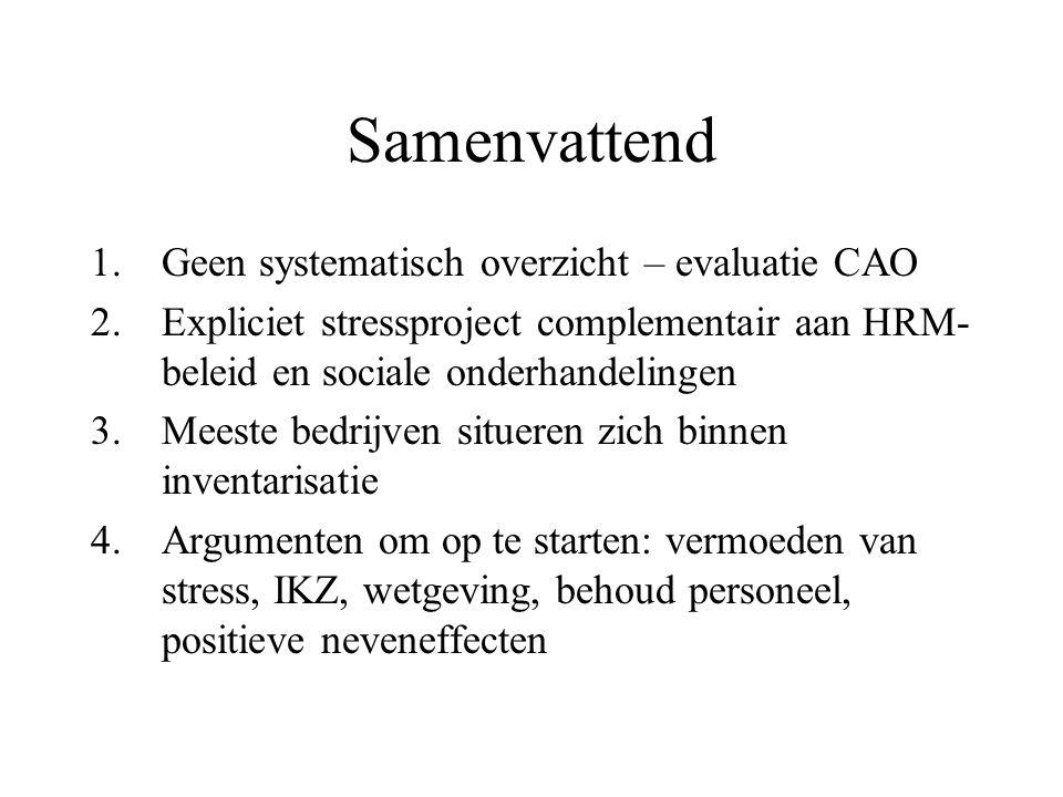 Samenvattend 1.Geen systematisch overzicht – evaluatie CAO 2.Expliciet stressproject complementair aan HRM- beleid en sociale onderhandelingen 3.Meest