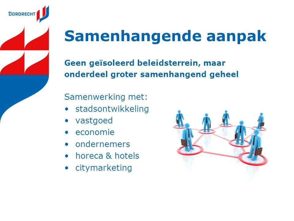 Samenhangende aanpak Geen geïsoleerd beleidsterrein, maar onderdeel groter samenhangend geheel Samenwerking met: stadsontwikkeling vastgoed economie ondernemers horeca & hotels citymarketing