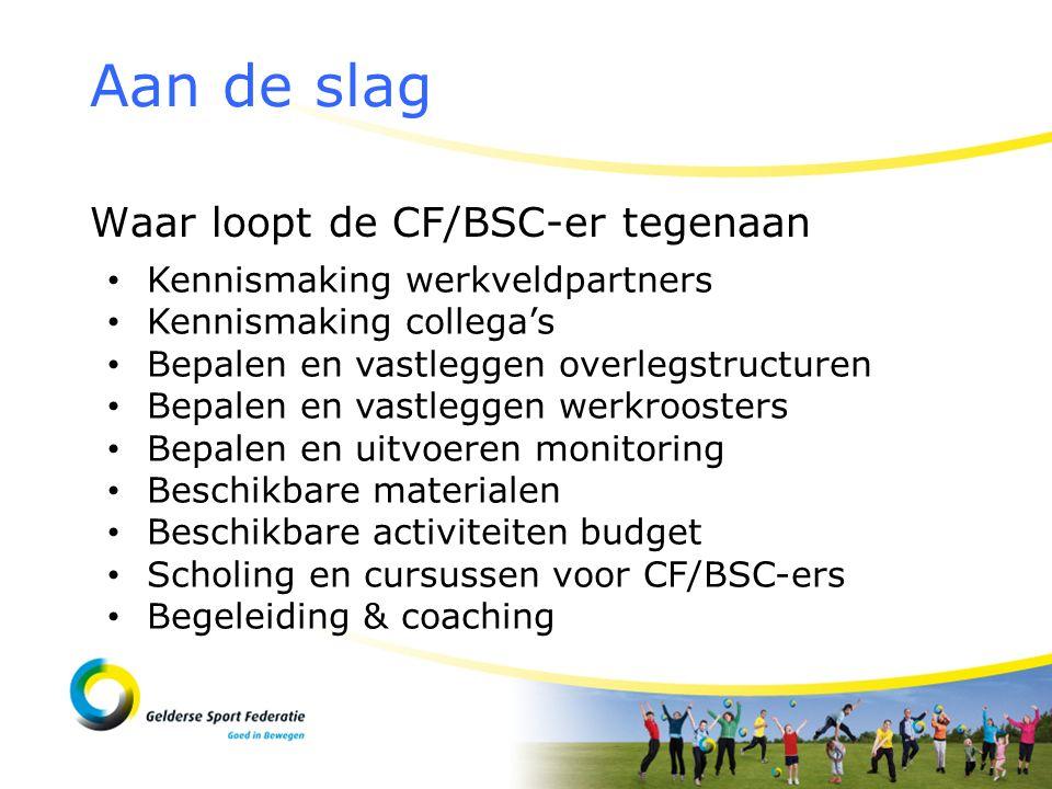 Waar loopt de CF/BSC-er tegenaan Aan de slag Kennismaking werkveldpartners Kennismaking collega's Bepalen en vastleggen overlegstructuren Bepalen en vastleggen werkroosters Bepalen en uitvoeren monitoring Beschikbare materialen Beschikbare activiteiten budget Scholing en cursussen voor CF/BSC-ers Begeleiding & coaching