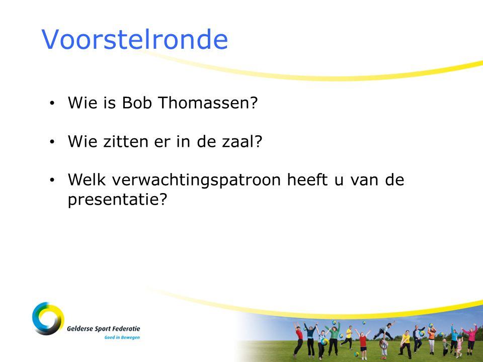 Voorstelronde Wie is Bob Thomassen? Wie zitten er in de zaal? Welk verwachtingspatroon heeft u van de presentatie?