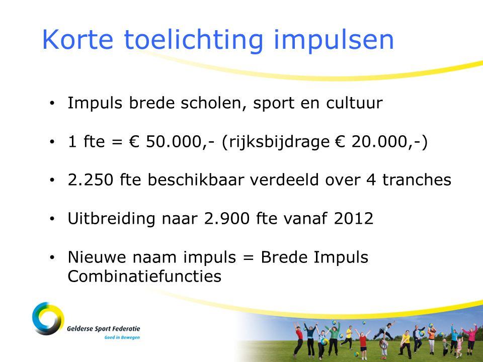 Korte toelichting impulsen Impuls brede scholen, sport en cultuur 1 fte = € 50.000,- (rijksbijdrage € 20.000,-) 2.250 fte beschikbaar verdeeld over 4