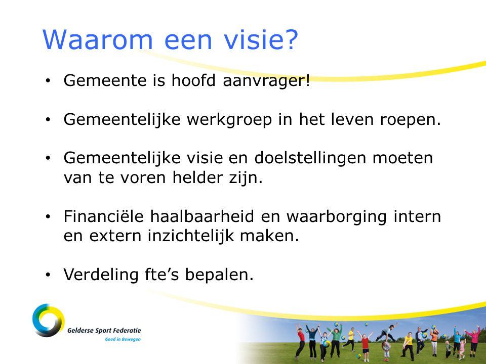 Waarom een visie? Gemeente is hoofd aanvrager! Gemeentelijke werkgroep in het leven roepen. Gemeentelijke visie en doelstellingen moeten van te voren