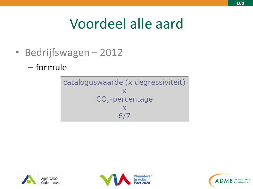 100 Voordeel alle aard Bedrijfswagen – 2012 – formule cataloguswaarde (x degressiviteit) x CO 2 -percentage x 6/7