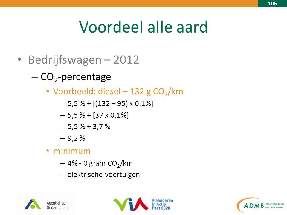 105 Voordeel alle aard Bedrijfswagen – 2012 – CO 2 -percentage Voorbeeld: diesel – 132 g CO 2 /km – 5,5 % + [(132 – 95) x 0,1%] – 5,5 % + [37 x 0,1%] – 5,5 % + 3,7 % – 9,2 % minimum – 4% - 0 gram CO 2 /km – elektrische voertuigen