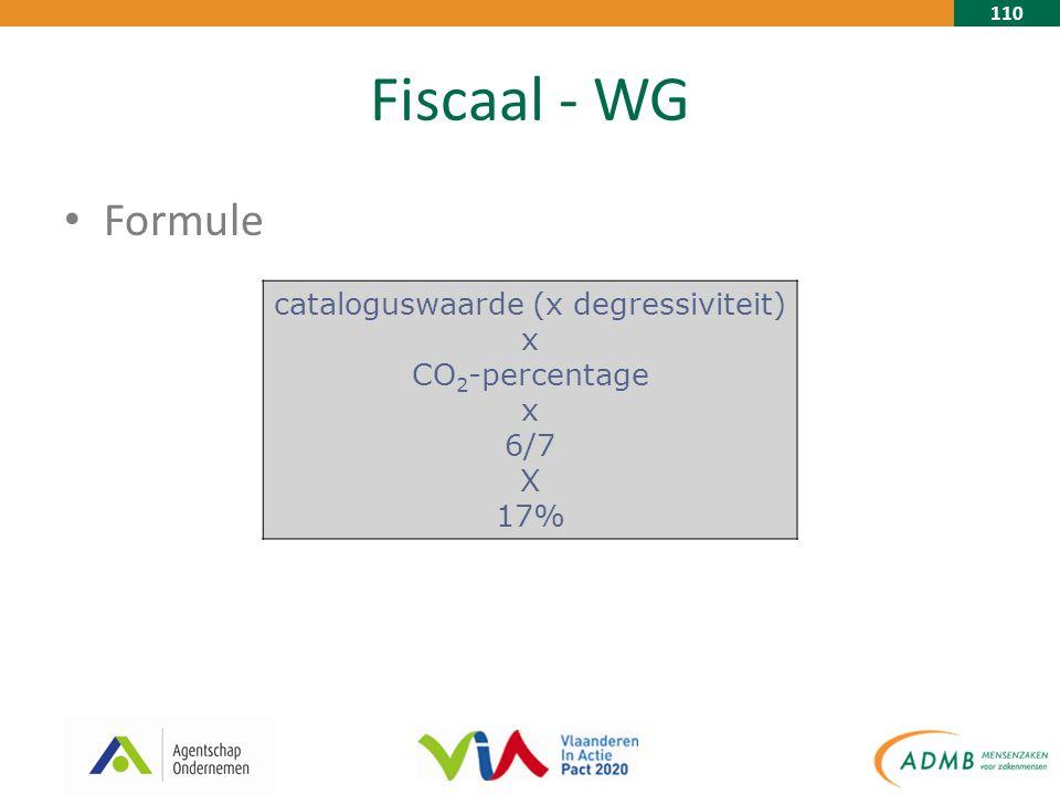 110 Fiscaal - WG Formule cataloguswaarde (x degressiviteit) x CO 2 -percentage x 6/7 X 17%