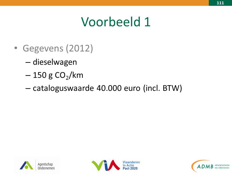 111 Voorbeeld 1 Gegevens (2012) – dieselwagen – 150 g CO 2 /km – cataloguswaarde 40.000 euro (incl.