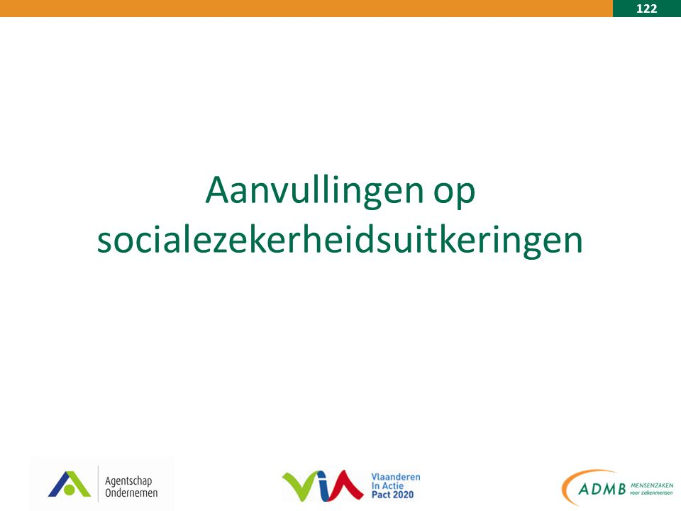 122 Aanvullingen op socialezekerheidsuitkeringen
