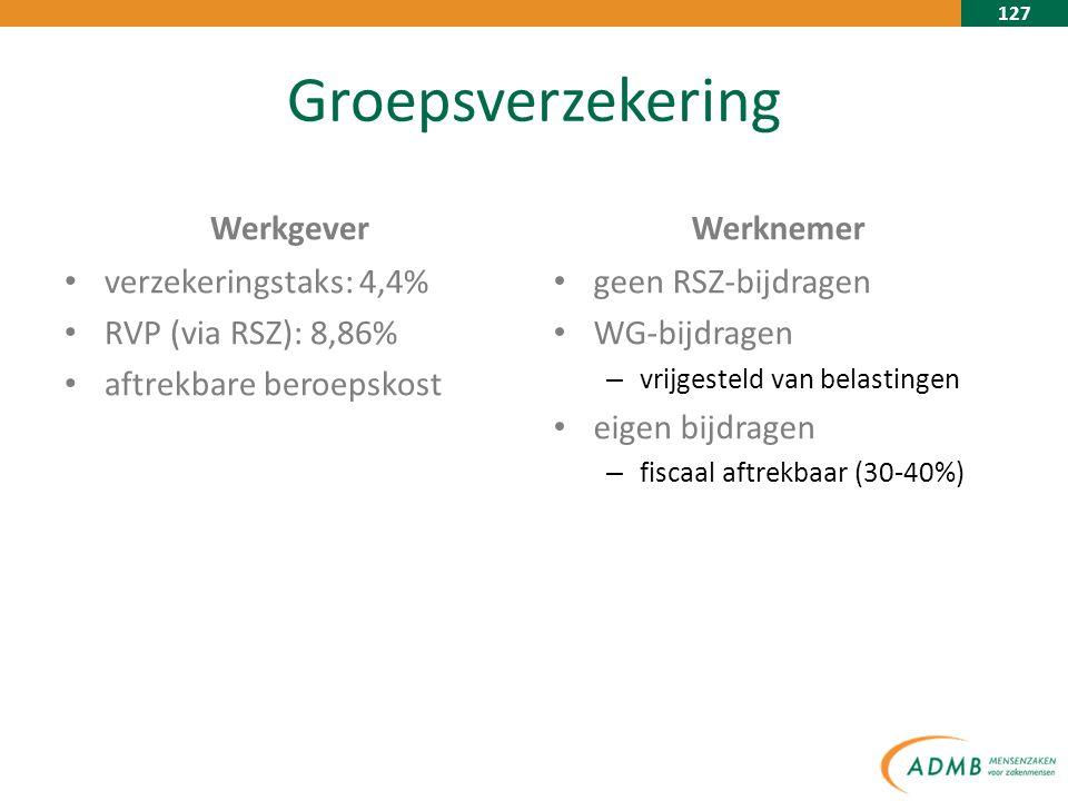 127 Groepsverzekering Werkgever verzekeringstaks: 4,4% RVP (via RSZ): 8,86% aftrekbare beroepskost Werknemer geen RSZ-bijdragen WG-bijdragen – vrijgesteld van belastingen eigen bijdragen – fiscaal aftrekbaar (30-40%)