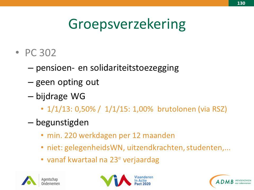 130 Groepsverzekering PC 302 – pensioen- en solidariteitstoezegging – geen opting out – bijdrage WG 1/1/13: 0,50% / 1/1/15: 1,00% brutolonen (via RSZ) – begunstigden min.