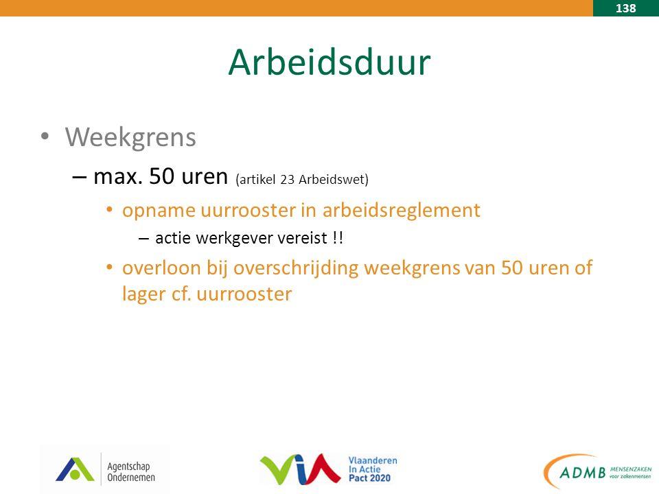 138 Arbeidsduur Weekgrens – max. 50 uren (artikel 23 Arbeidswet) opname uurrooster in arbeidsreglement – actie werkgever vereist !! overloon bij overs