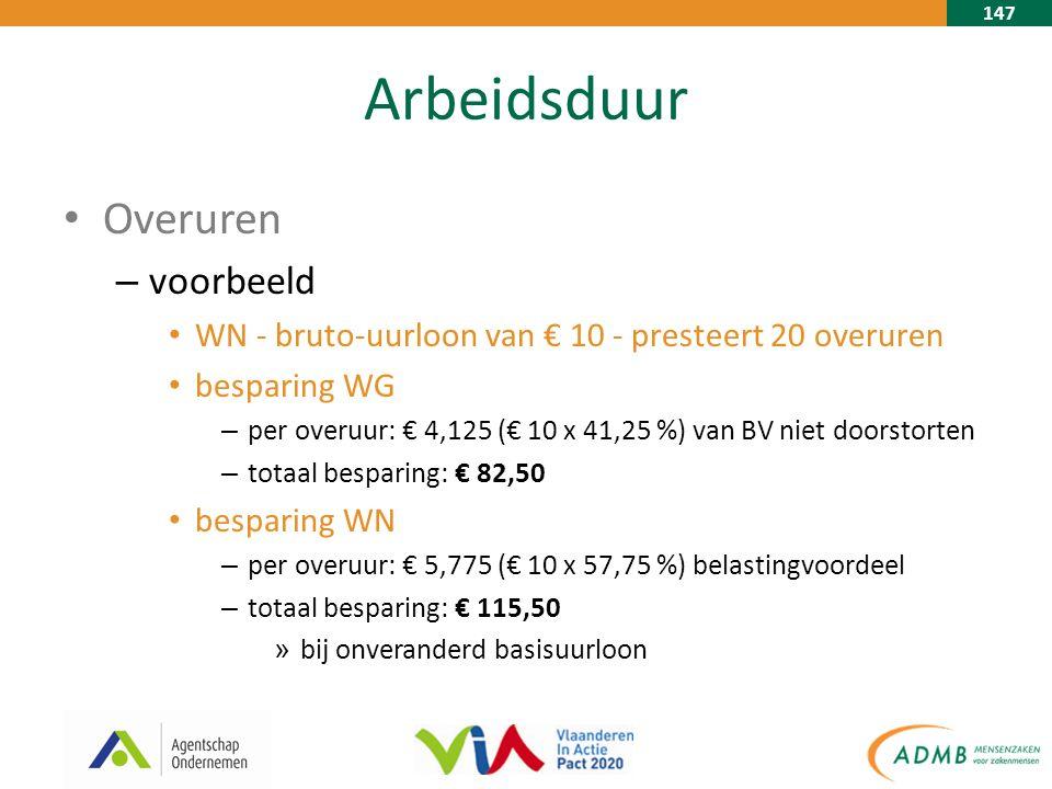 147 Arbeidsduur Overuren – voorbeeld WN - bruto-uurloon van € 10 - presteert 20 overuren besparing WG – per overuur: € 4,125 (€ 10 x 41,25 %) van BV niet doorstorten – totaal besparing: € 82,50 besparing WN – per overuur: € 5,775 (€ 10 x 57,75 %) belastingvoordeel – totaal besparing: € 115,50 » bij onveranderd basisuurloon