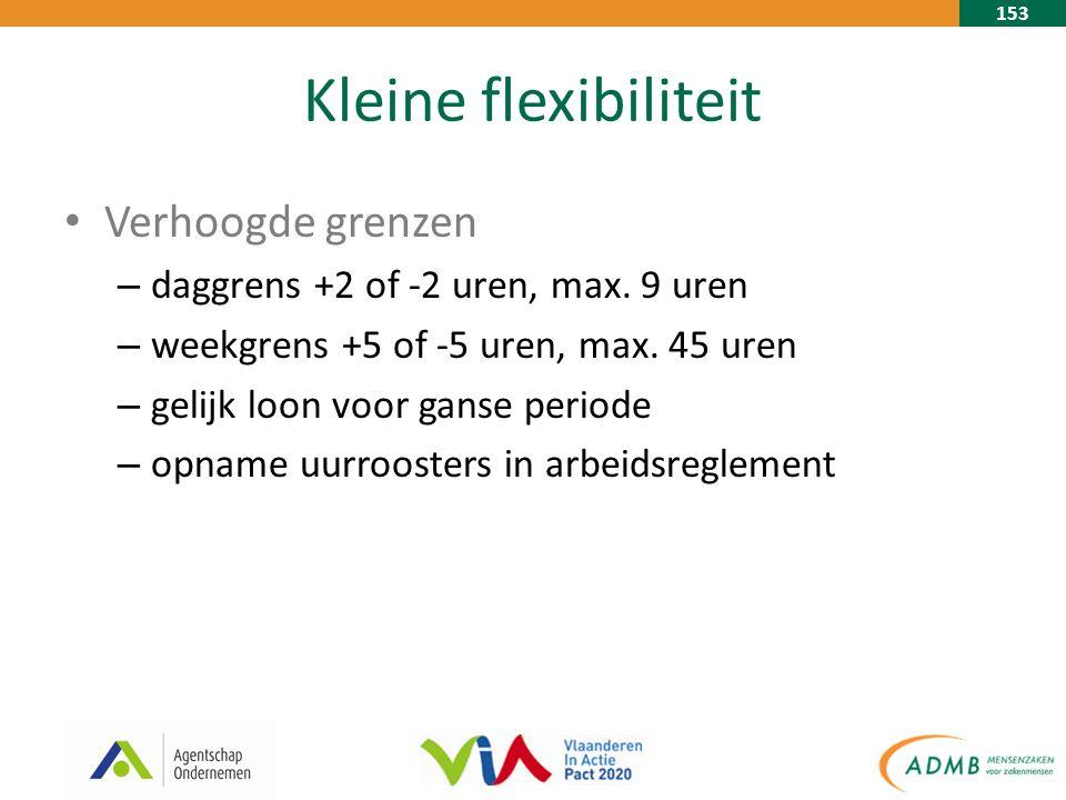 153 Kleine flexibiliteit Verhoogde grenzen – daggrens +2 of -2 uren, max.
