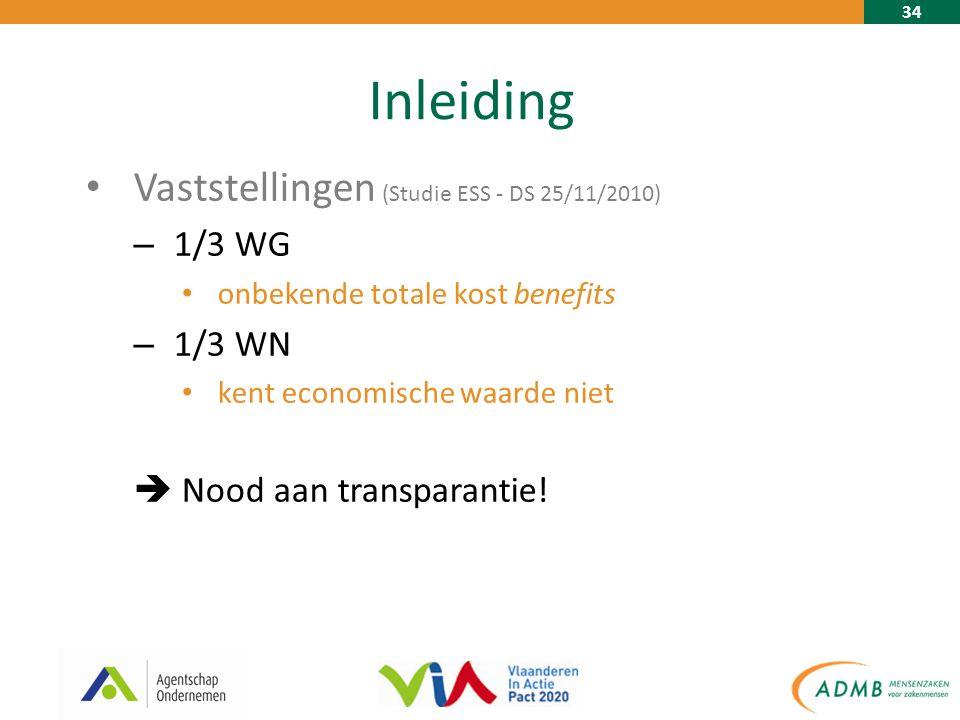 34 Inleiding Vaststellingen (Studie ESS - DS 25/11/2010) – 1/3 WG onbekende totale kost benefits – 1/3 WN kent economische waarde niet  Nood aan transparantie!