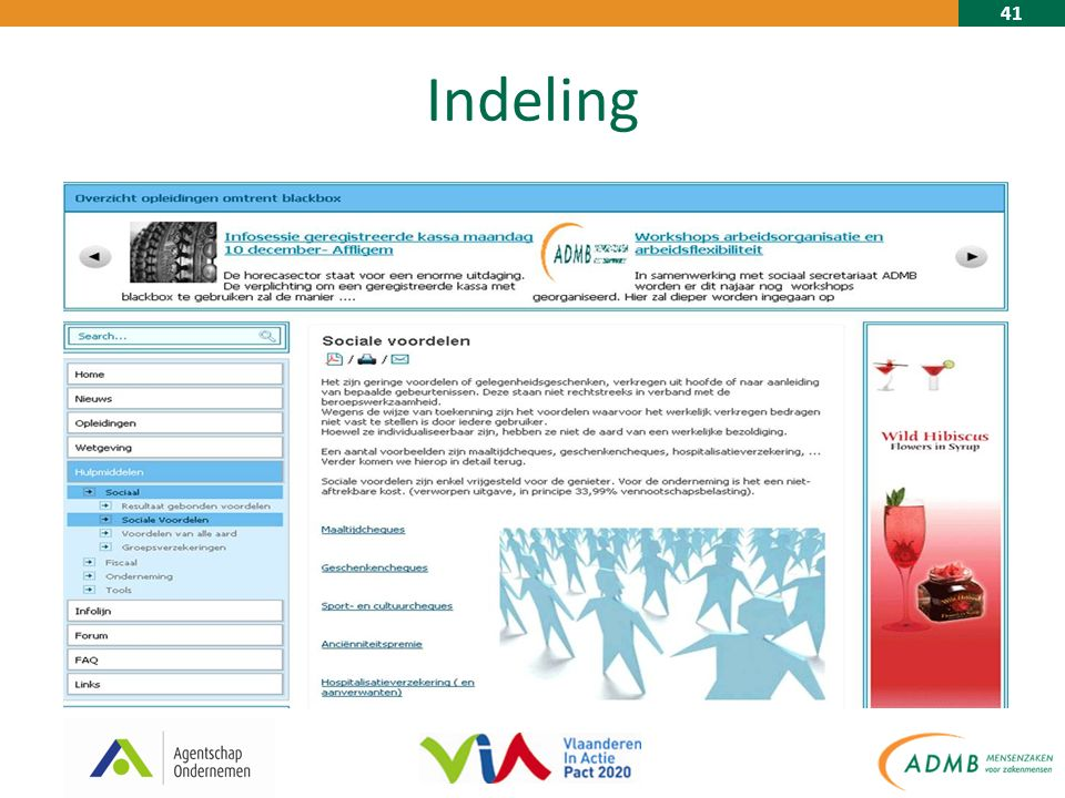 41 Indeling