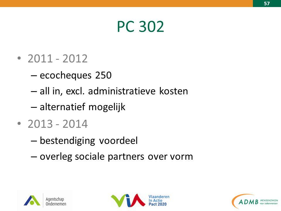 57 PC 302 2011 - 2012 – ecocheques 250 – all in, excl. administratieve kosten – alternatief mogelijk 2013 - 2014 – bestendiging voordeel – overleg soc