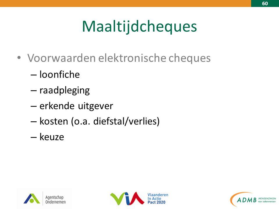 60 Maaltijdcheques Voorwaarden elektronische cheques – loonfiche – raadpleging – erkende uitgever – kosten (o.a.
