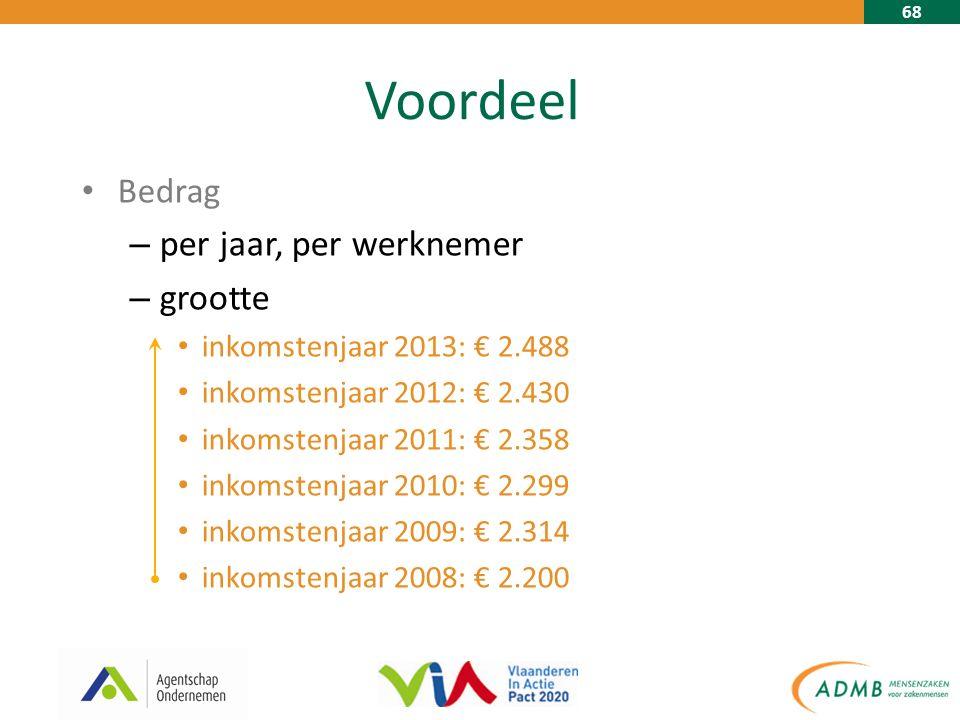 68 Voordeel Bedrag – per jaar, per werknemer – grootte inkomstenjaar 2013: € 2.488 inkomstenjaar 2012: € 2.430 inkomstenjaar 2011: € 2.358 inkomstenjaar 2010: € 2.299 inkomstenjaar 2009: € 2.314 inkomstenjaar 2008: € 2.200
